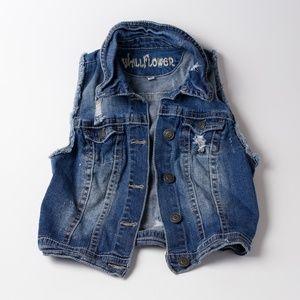 Wildflower cropped distressed jean jacket